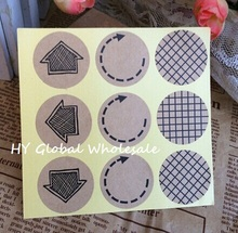 90pcs/lot Round Arrow Plaid Pattern Cowhide Sealing Sticker For Handmade Products Gift Package Label Sealing Sticker 90pcs lot round gray blue pink lace flower especially for you sealing sticker gift label