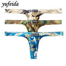 Sexy Mens G-strings Thongs Underwear Underpants Camouflage Boxer Bikini Stretch Low Rise T-back Shorts 3PCS
