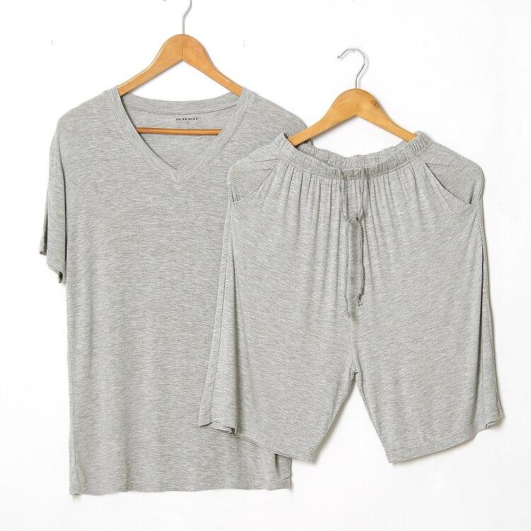 Summer Men's Casual Pajama Sets Modal Thin Pyjamas Solid Color Short Sleeve T-shirt + Shorts Home Clothing 2 Piece Set Sleepwear