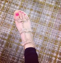 Luxury Crystal Bow Women Sandals Summer Hot Rhinestone T-Straps Ladies Ankle Buckle 6cm Med Heel Female Dress Shoes