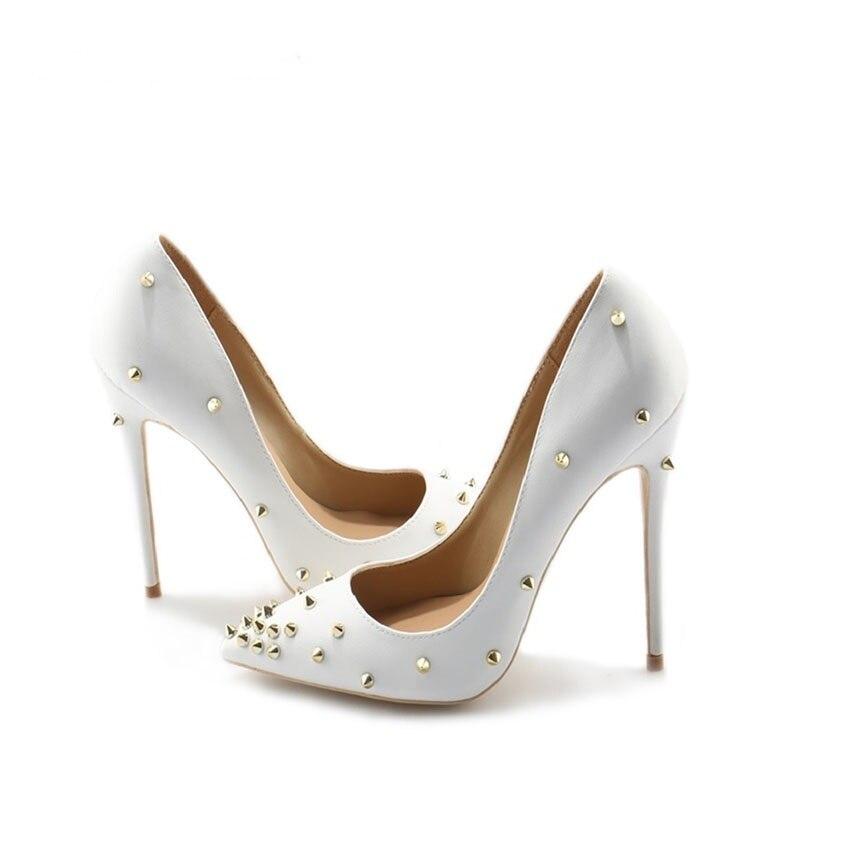 Or Blanc As De Chaussures Date Robe Partie Dames Haute Mariée Sexy as Picture Pointu Femmes Rivet Décoration Pompes Talons Picture Mariage Bout XwUfqT