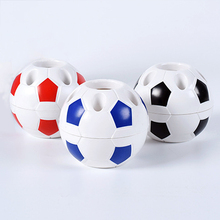купить Football Ball Shape Pen Pencil Holder Soccer Ball Makeup Brush Holders Student Supplies Football Sports Gift Desktop Decoration дешево