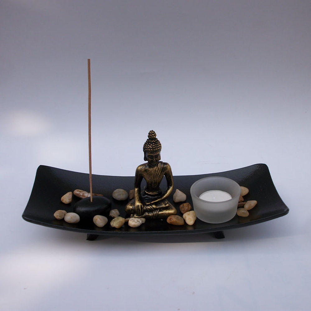 1 Piece Resin Buddha Figure Ornament Joss-stick Candle Holder Stone Sand Set Home Decorations Statues Sculptures