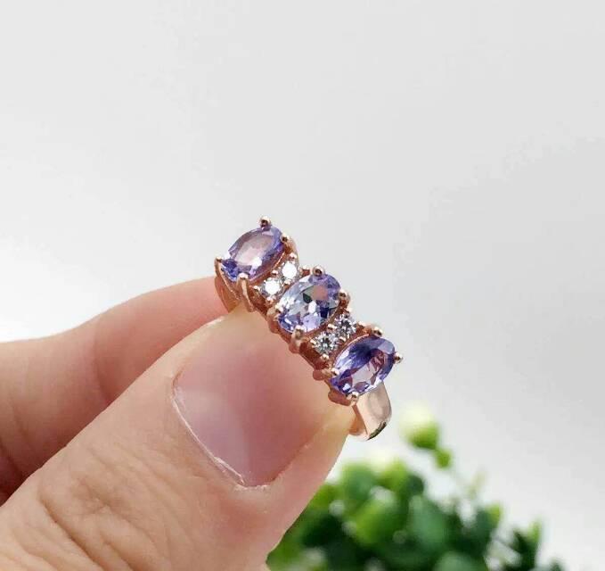 Naturel bleu tanzanite gem anneau pierre Naturelle anneau S925 sterling bague en argent à la mode tableau Élégant cadeau de partie de femmes Bijoux
