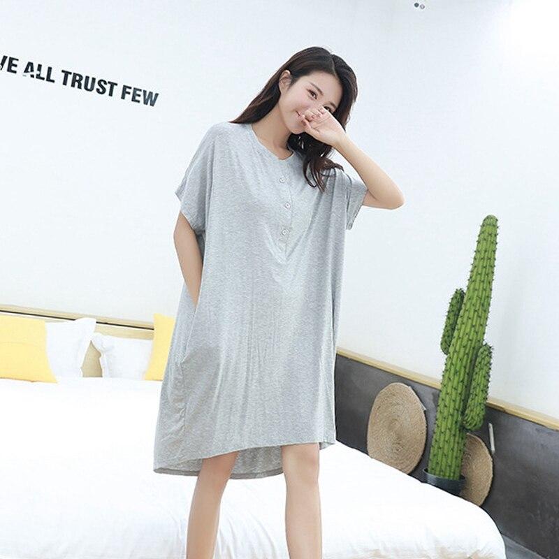 Мягкая одежда для сна для беременных женщин; платье для беременных с короткими рукавами; Пижама для беременных женщин; сезон лето-осень; одежда для сна для беременных - Цвет: Light gray