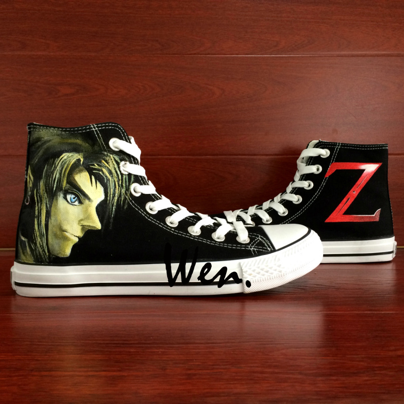 Wen Hand Painted Canvas Sneakers Link Z Legend of Zelda Design Custom High Top Woman Man's Black Skateboard Shoes Daily Trip wen customed hand painted shoes canvas the beatles high top women men s sneakers black daily trip shoes special christmas gifts