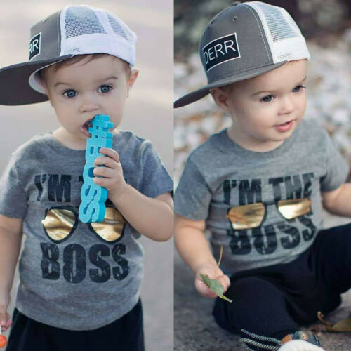 Fashion Toddler <font><b>Baby</b></font> Boys Cotton Short Sleeve Letter Of I am <font><b>the</b></font> <font><b>Boss</b></font> T-<font><b>shirt</b></font> Casual Clothes Tops Blouse image
