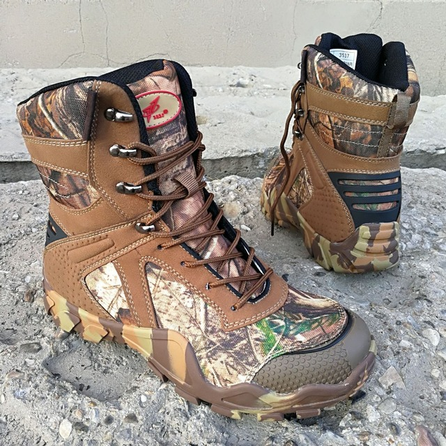 Men Hiking Boots Camouflage Military Army Breathable Antiskid Outdoor Hunting Shoes