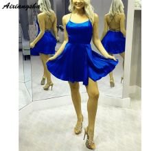 Королевские синие бордовые мини-платья для возвращения на родину полуофициальное вечернее платье окончание средней школы атласные Короткие платья для выпускного вечера