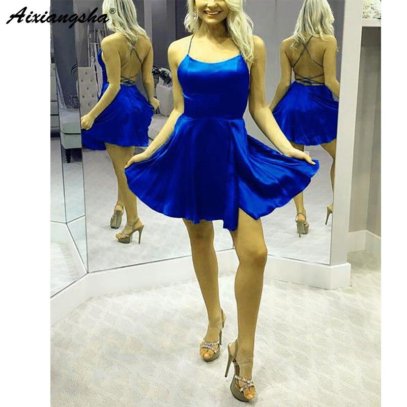 Royal Blue Burgundy Mini Homecoming Dresses 2019 Halther Semi Formal Junior Graduation Dress Satin Short Prom Dresses