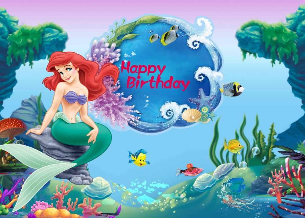 DePhoto Mermaid Princess วันเกิดการถ่ายภาพฉากหลังทะเล shell fairy tale พื้นหลัง baby shower photophone photocall