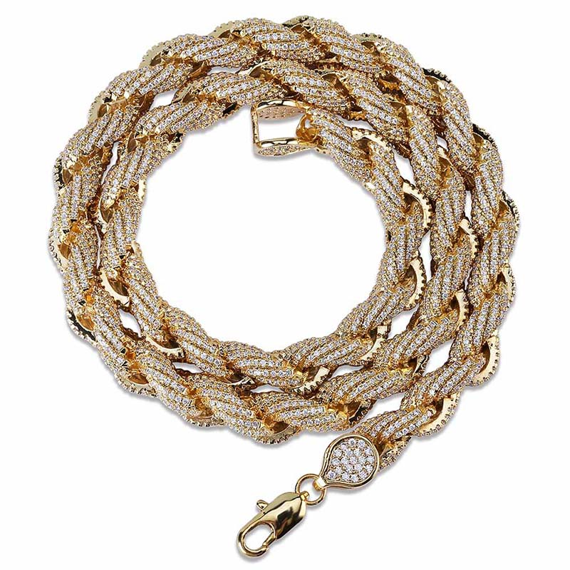 Iced Out Men's rope Link Chain Necklace Gold Silver Bling Fully Rhinestone Hip Hop Necklace Jewelry 18,22inch Dropshipping