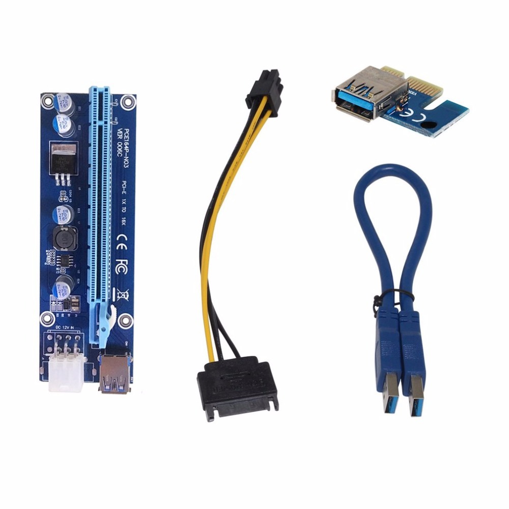5PCS U34 0.6M PCI-E 1x to 16x PCI Express Riser Card USB 3.0 Data Cable SATA to 6Pin IDE Molex for BTC Miner Machine