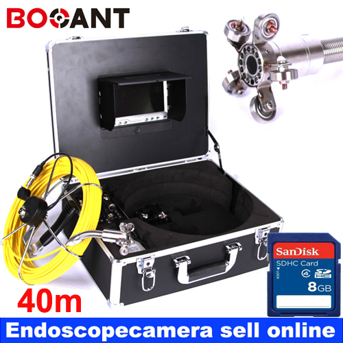 40m DVR Fiber Glass Cable Waterproof Industrial Sewer Pipe Pipeline Inspection Underwater Camera 12Pcs Leds with 7 LCD monitor 20m cable fiber glass 7 tft lcd waterproof pipe sewer inspection camera ccd600tvl with meter accounter endoscope snake camera
