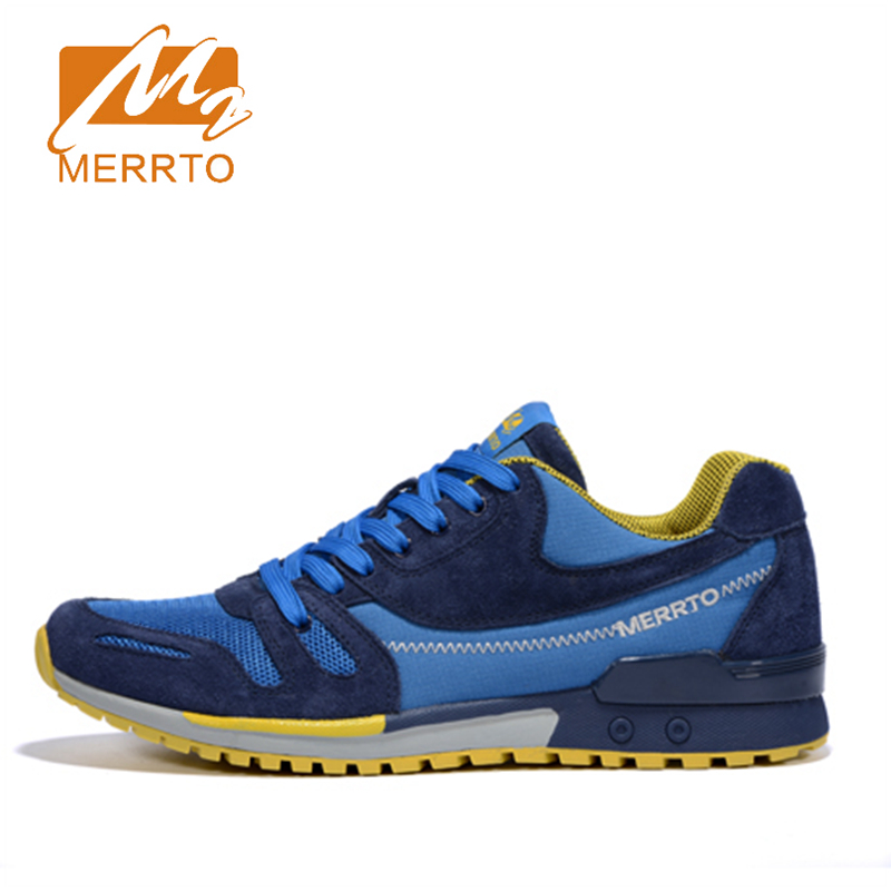 Merrto 2016 Men Breathable Running Shoes Outdoor Sports Shoes Running Sneakers For Men Suede Leather Male Trainers Sneakers Man 2017 merrto men walking shoes outdoor sports sneakers suede mesh for men free shipping mt18575