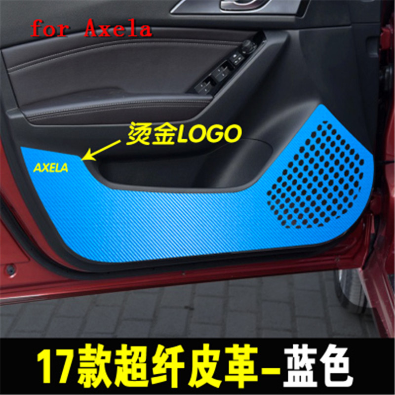 Car Styling Carbon fiber pattern super thousand leather door anti-play mat for Mazda 3 M3 Axela 2017 2018 4PCS