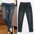 2016 New Women's Denim Ripped Jeans Casual Slim Loose Plus size Jeans Distrressed Fashion Pocket Women Denim Pants