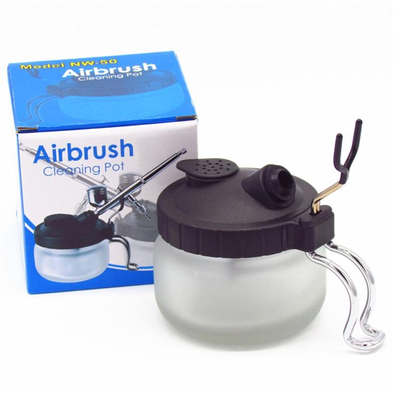 Airbrush Cleaning Pot Station Holder Paint Airbrush Hanger /& Filter