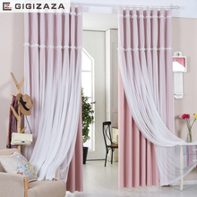 Lucky floral tassel lace head top curtain pink color cloth curtain+voile sheer black out fabric bedroom customize curtain window