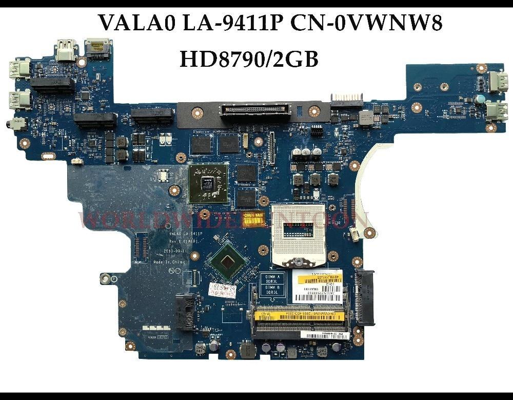 CN 0VWNW8 FOR Dell Latitude E6540 Laptop Motherboard VALA0 LA 9411P VWNW8 HM87 PGA947 HD8790M 2GB