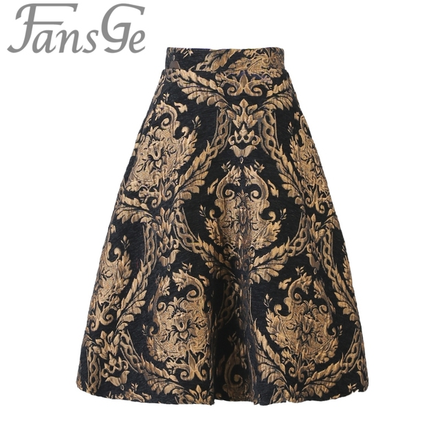 Spring Autumn Runway Fashion Women's Casual High Waist Jacquard Floral Skirts Pleated Tutu Skater Skirt Faldas Saia Plus Size