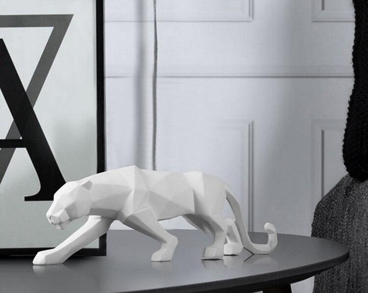 الإبداعية خلاصة الأسود النمر النحت الراتنج هندسية النمر تمثال البرية اكسسوارات الديكور هدية الحرفية الديكور-في التماثيل والمنحوتات من المنزل والحديقة على  مجموعة 3