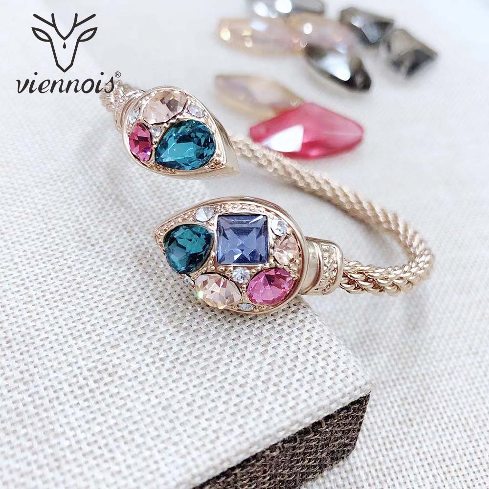 Viennois Bangles Bracelet Wedding-Jewelry Rhinestone Geometric Rose-Gold-Color Women