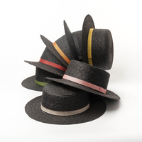 d3342b87a13d4 01904 Hh7348 Handmade Straw Black Straw Fedoras Hat Men Women Panama Jazz  Cap