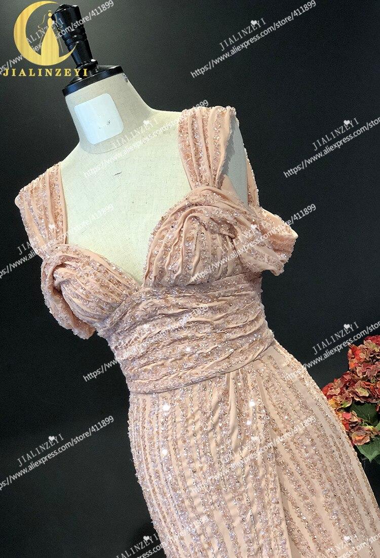 JIALINZEYI réel échantillon nu bateau cou complet luxueux perles en mousseline de soie Elie saab robe pour les robes de soirée de fête - 4