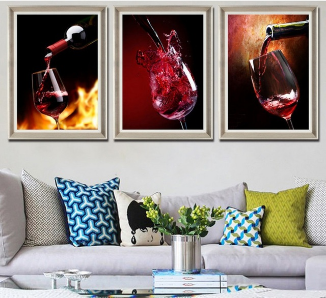 Gohipang Wine Glass Wine Restaurant Bar Decorative Painting Modular Wall  Picture Canvas Painting Poster For Living