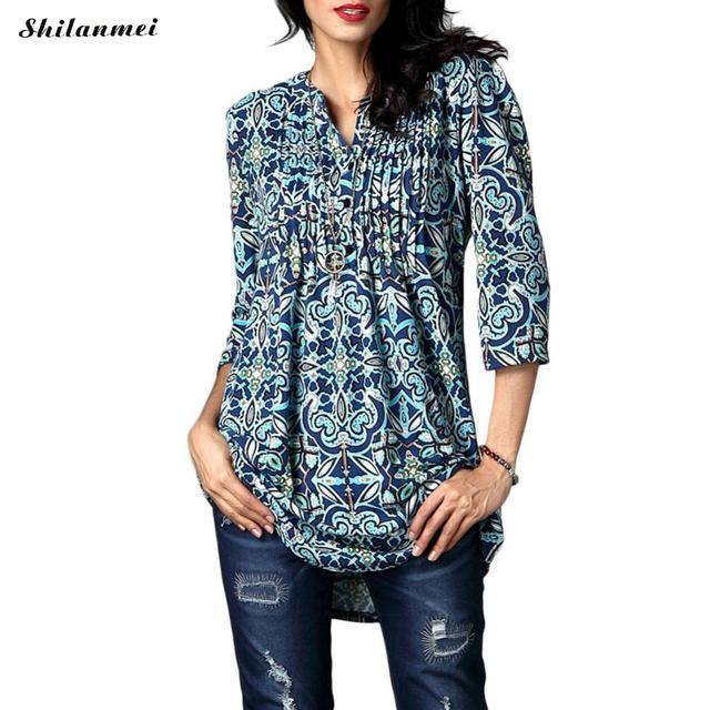 Autumn Spring Floral Blouse Women 2017 Casual 3/4 Sleeve Vintage Boho Tunic Shirt Ladies Top Loose Pleated Blusa Chemisier Femme