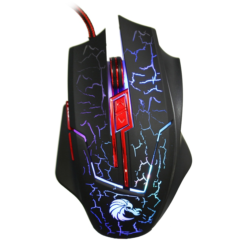 Проводная оптическая Мышь 2.4 г компьютер Мышь 5500 Точек на дюйм регулируемый 6 Пуговицы Красочные светодиодной подсветкой USB Gaming Мышь PC Мыши к...