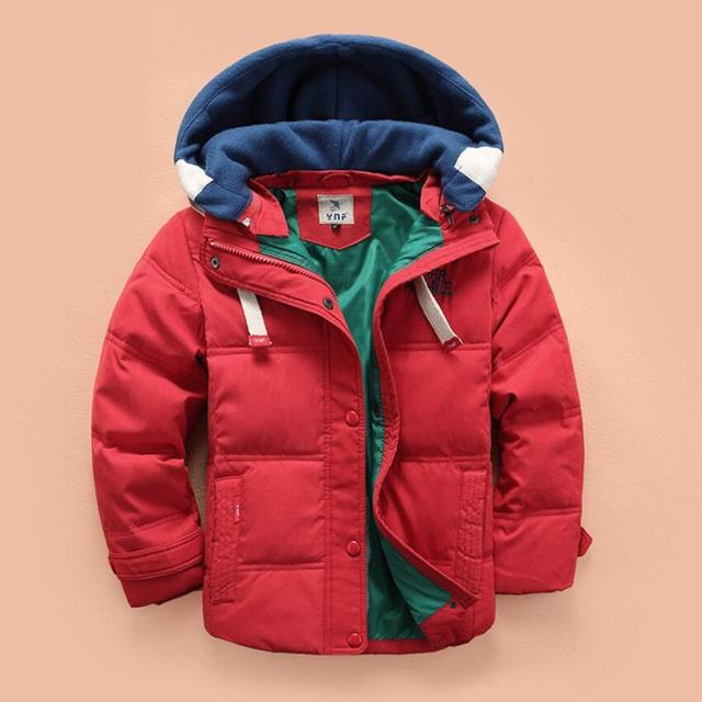 5-10Y Russia winter Children Down/Parkas warm boys ski jackets casual hooded kids outerwear boys down coats solid colors
