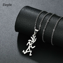 Eleple Mens Unique Cartoon Stainless Steel Pendant Necklace Creative Running Men Sports Fashion Necklaces Jewelry S-N479-01