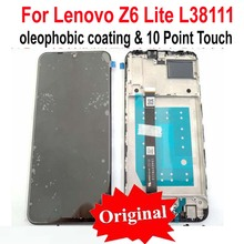 100% מקורי הטוב ביותר שחור מלא LCD תצוגת מסך מגע Digitizer הרכבה חיישן + מסגרת עבור Lenovo Z6 לייט L38111 זכוכית פנל