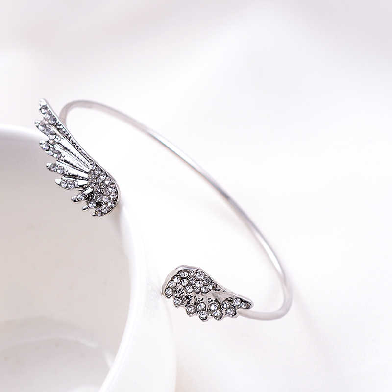 SUKI Korean Style Crystal Fashion Jewelry Angel Wings Adjustable Chic Lovely Bangles Women Girl Charm Open Bangle Bracelets Gift