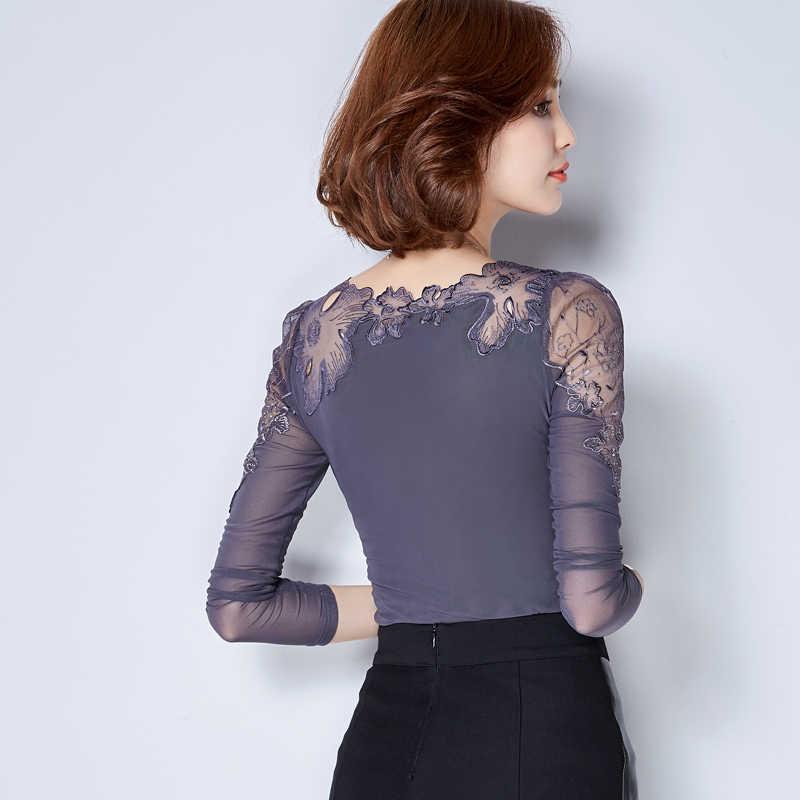 Chemise Cỡ Màu Áo Ren Phối Áo Sơ Mi Voan Nữ Tay Dài Nữ Áo Kiểu Blusas Camisas Mi 2019 Ropa Mujer