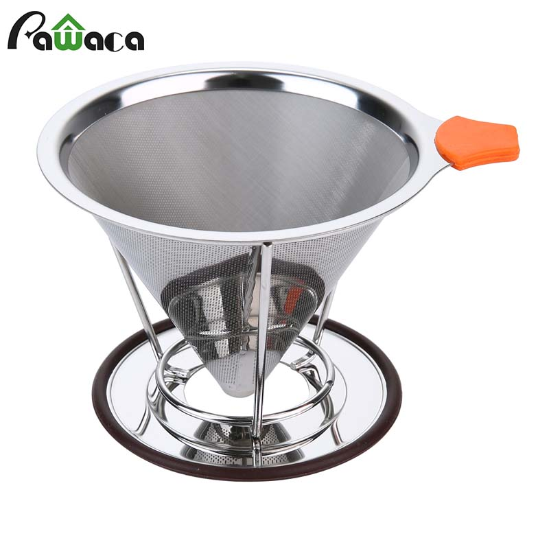 buy reusable stainless steel cone coffee filter baskets mesh strainer pour over. Black Bedroom Furniture Sets. Home Design Ideas