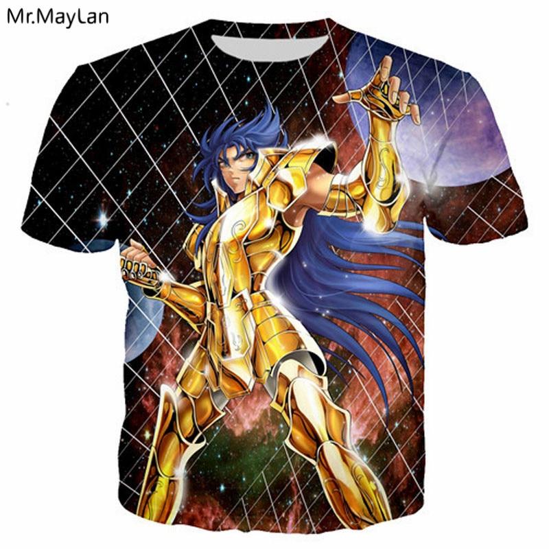 Anime Saint Seiya Gold Saint 3D Print Tshirt Men/Women Hiphop Streetwear T shirt 2018 Boys Tee T-shirt Harajuku poleras hombre