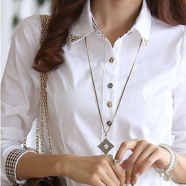 Fashion women long sleeve shirt 2019 New slim elegant blouses shirts ladies white chiffon office work plus size clothes tops