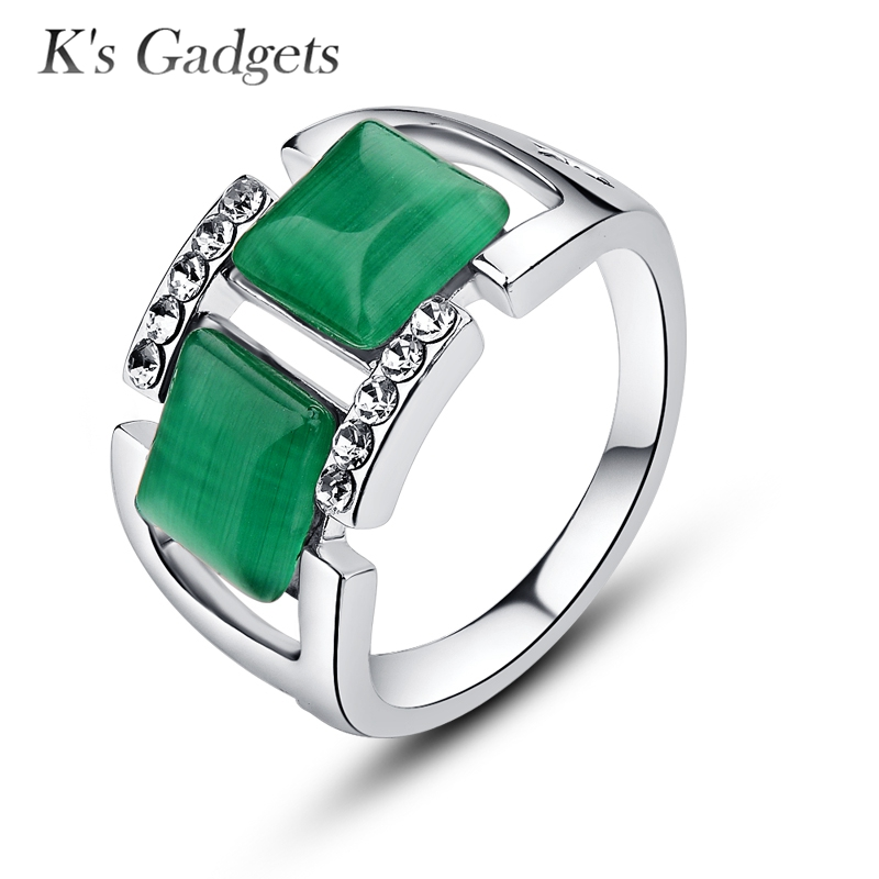 K's Gadgets Natural Stone Ring Silver Color Opal Bague Green Zircon Anel Natural Agat Rings for Women Big Square Ring