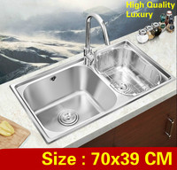 Free shipping Apartmen high quality wash vegetables kitchen double groove sink high volume luxury 304 stainless steel 700x390 MM