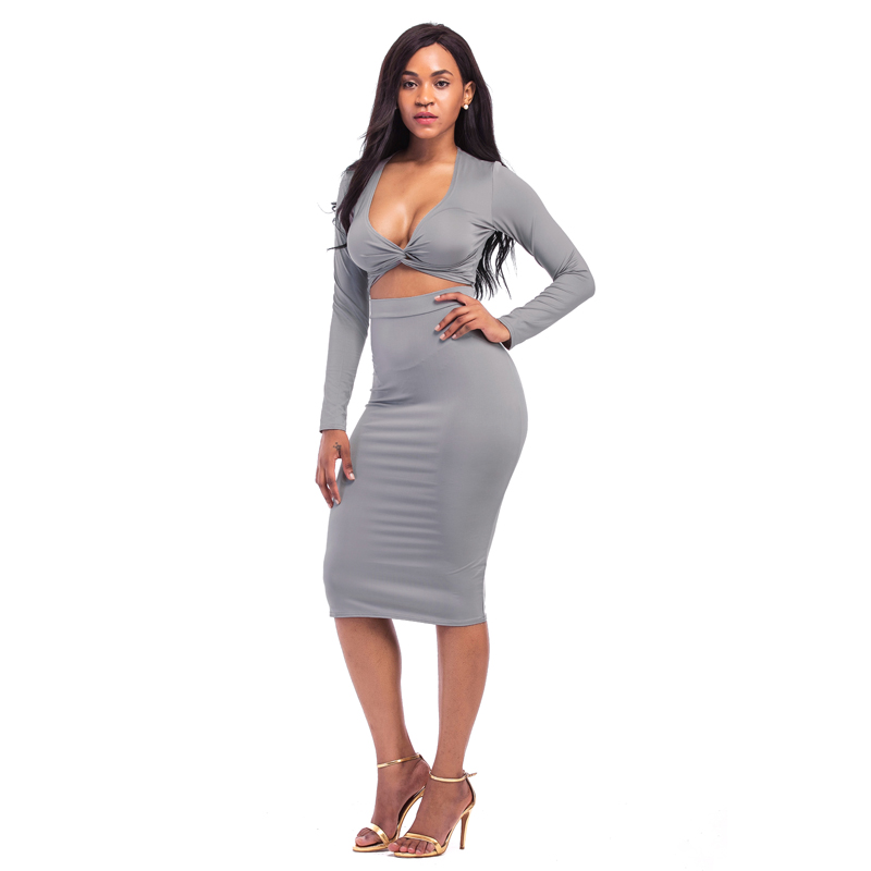 657a57d70907c US $13.99 40% OFF|Jessie Vinson Fashion Women Suits 2 Pieces Set Long  Sleeve Criss Cross Crop Tops Sheath Slim Hip Bandage Pencil Skirt -in  Women's ...