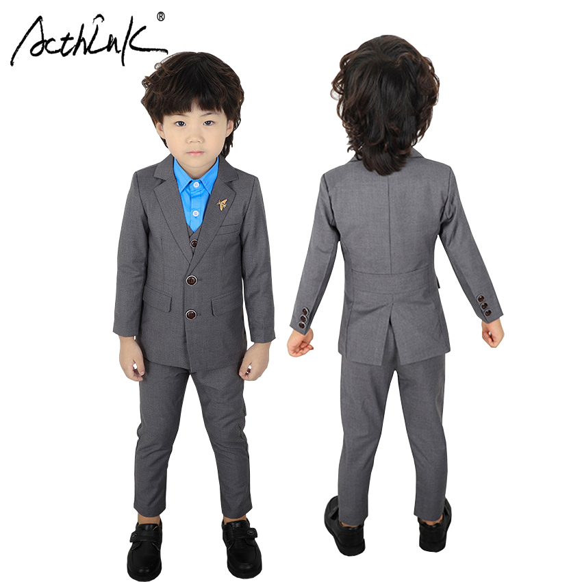 все цены на ActhInK New 3PCS Kids Gray Wedding Blazer Suit Boys Winter Striped Clothing Set Flower Boys Party Tuxedos Children Spring Suits