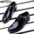 LIN KING Fashion Wedding Dress Shoes High Quality Patent Leather Low Top Party Shoes Pointed Toe Boss Office Man Shoes