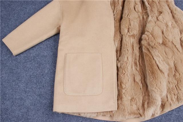 2017 New Winter Parka Wool Cashmere Coat Women Fur Jacket Overcoat Collar Hooded Rex Rabbit Fur liner Top Quality 3