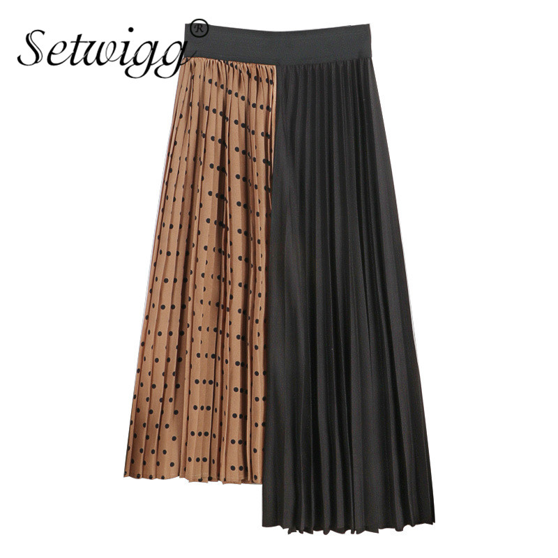 19dc7646532b 2019 Spring Patchwork High Low Polka Dotted Long Pleated Skirts Contrast  Color Spliced A-line