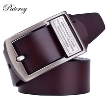[PATEROY] Belt Designer Belts Men High Quality Jeans Letter Buckle Belt Mens Buckle Retro Brand Vintage Cowskin Leather Fashion