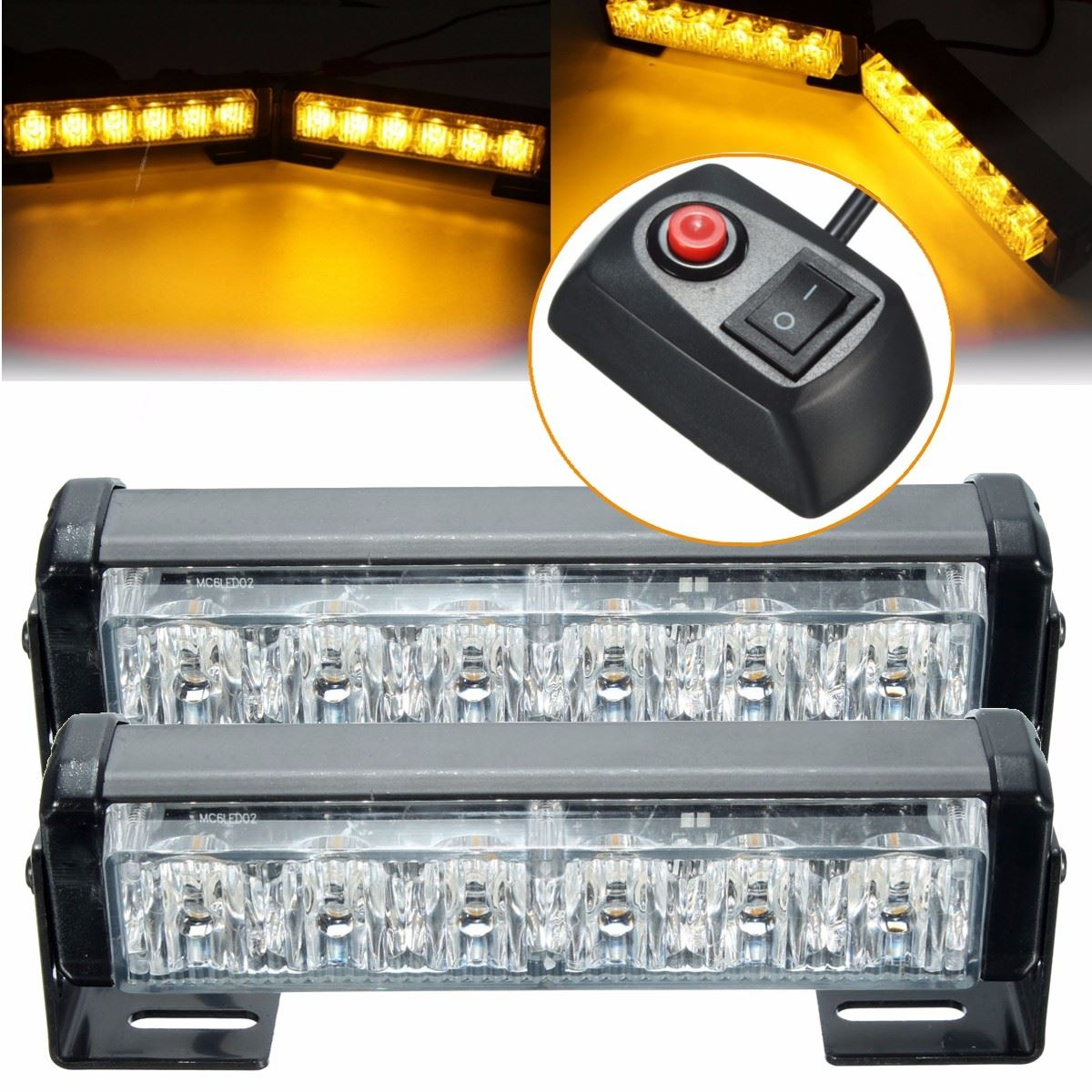 2x 6 LED 12V Amber Car Flashing Hazard Light Strobe Flash Lamp Switch Harness Car Flash Signal Emergency Warning Light fendi fan di fendi blossom