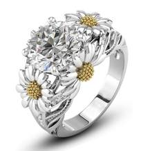 Cool Sparkling Handmade Fashion Jewelry 925 Silver Filled Round Cut White AAA CZ Party Chrysanthemum Flower Women Band Ring Gift(China)